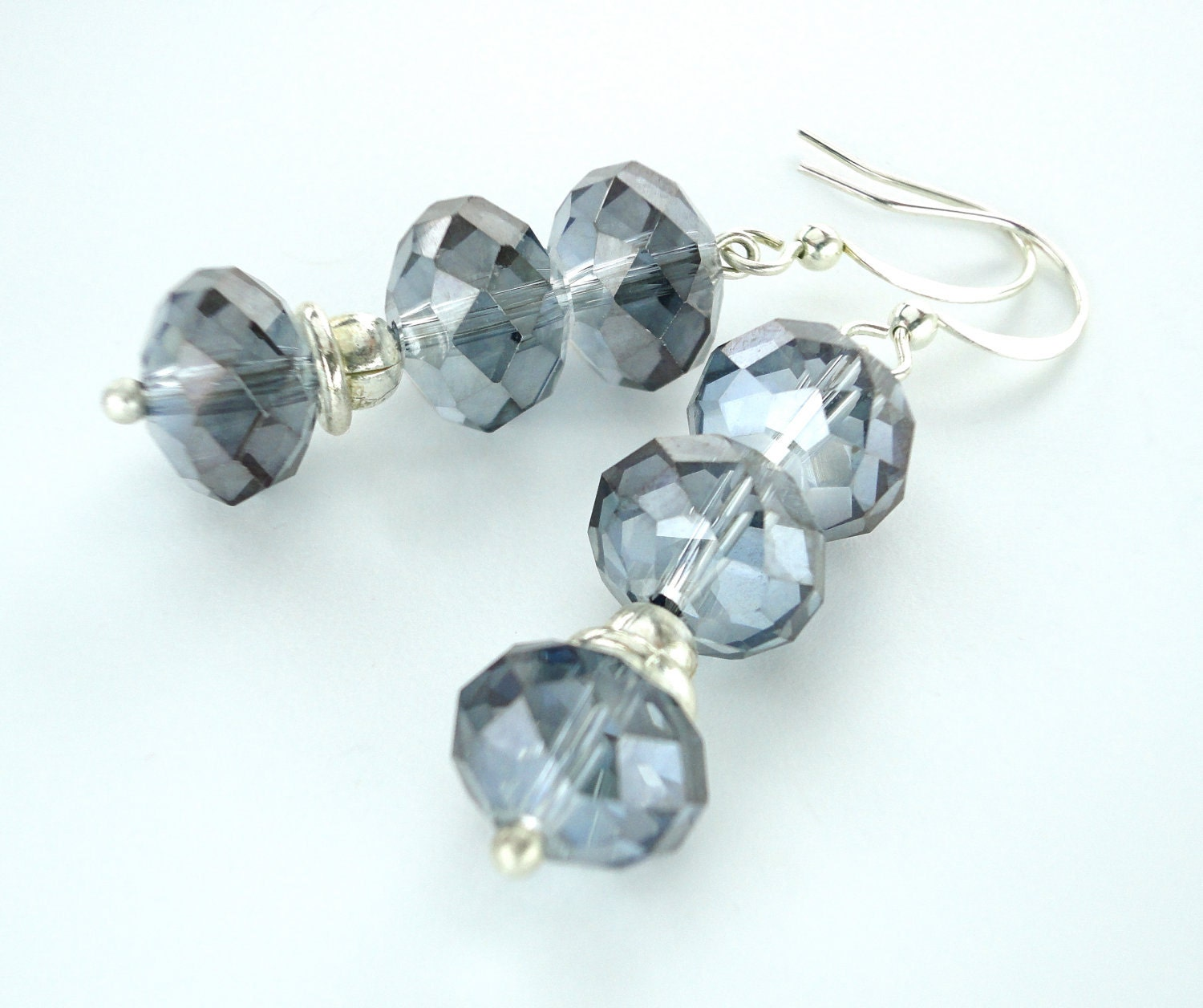 Rain Blue Grey AB Fire Polished Glass Silver Earrings - One of a Kind