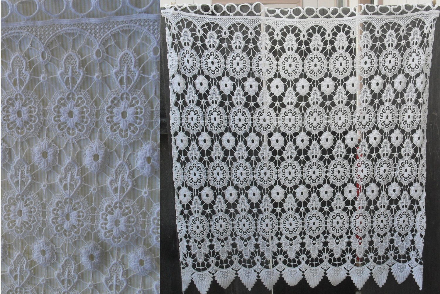 vintage cotton tatting crochet lace curtain panel 34 by