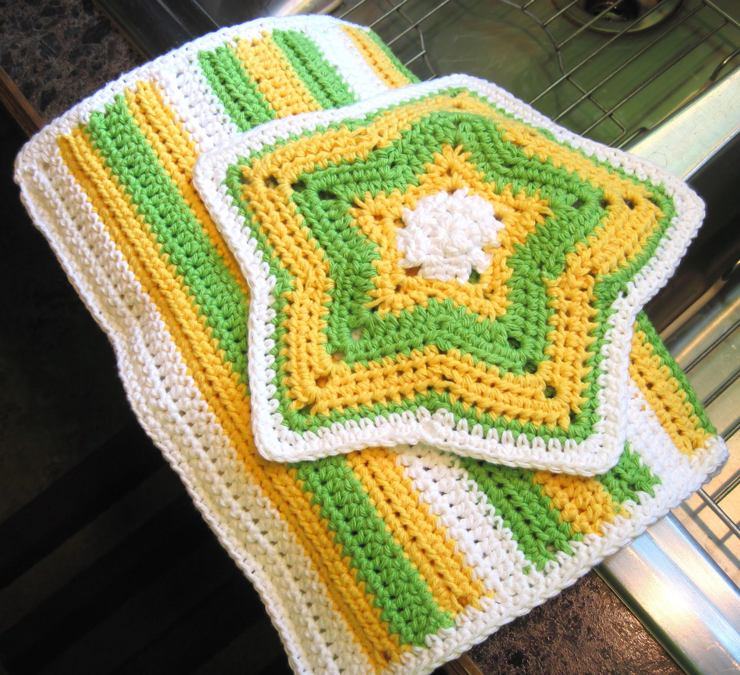 Items similar to Crochet Cotton Kitchen Dish Hand & Towel Set Star ...
