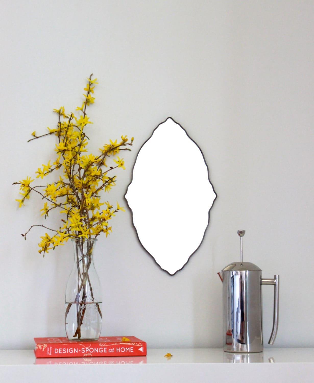 Oval Scalloped Mirror Handmade Wall Mirror Ornate Organic Frameless Wall Mirror - fluxglass