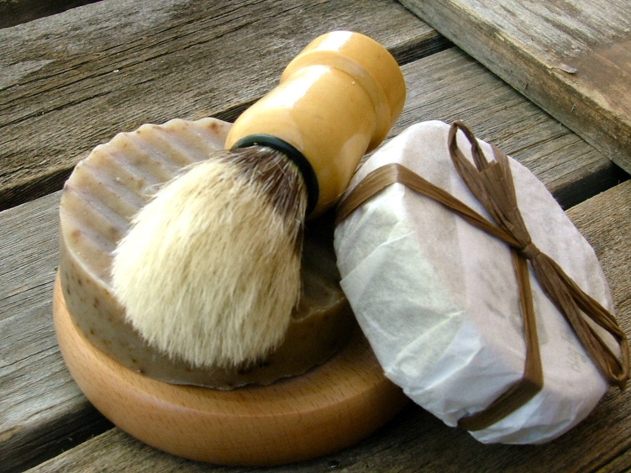 Shave Set with  Brush, Handmade Beer Soap, Mens Shave kit, Boar Brush, Rustic, Mens GIft - DirtyDeedsSoaps