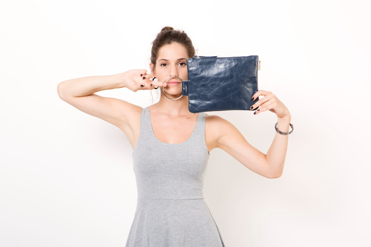 Blue navy leather clutch, Leather bag clutch - maykobags