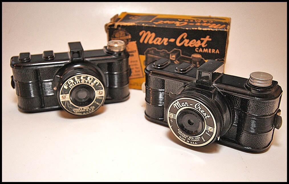 Pair Vintage Bakelite Film Cameras - Falcon & Mar-Crest