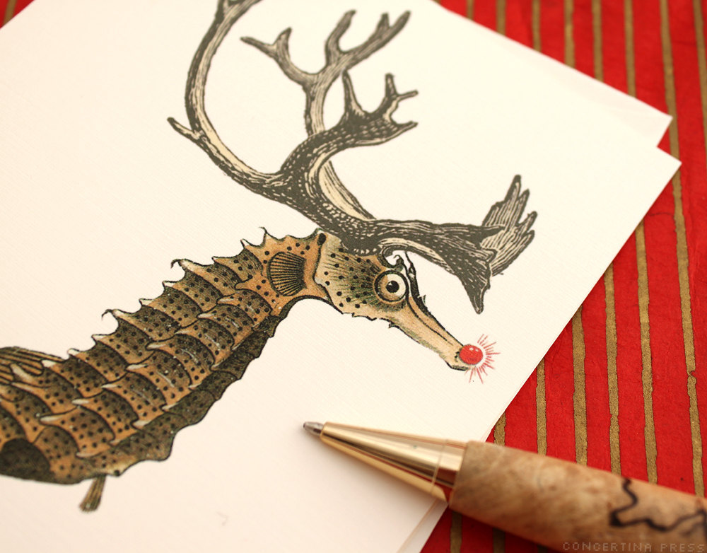 Seahorse Reindeer Christmas Cards by Concertina Press $14 for 8