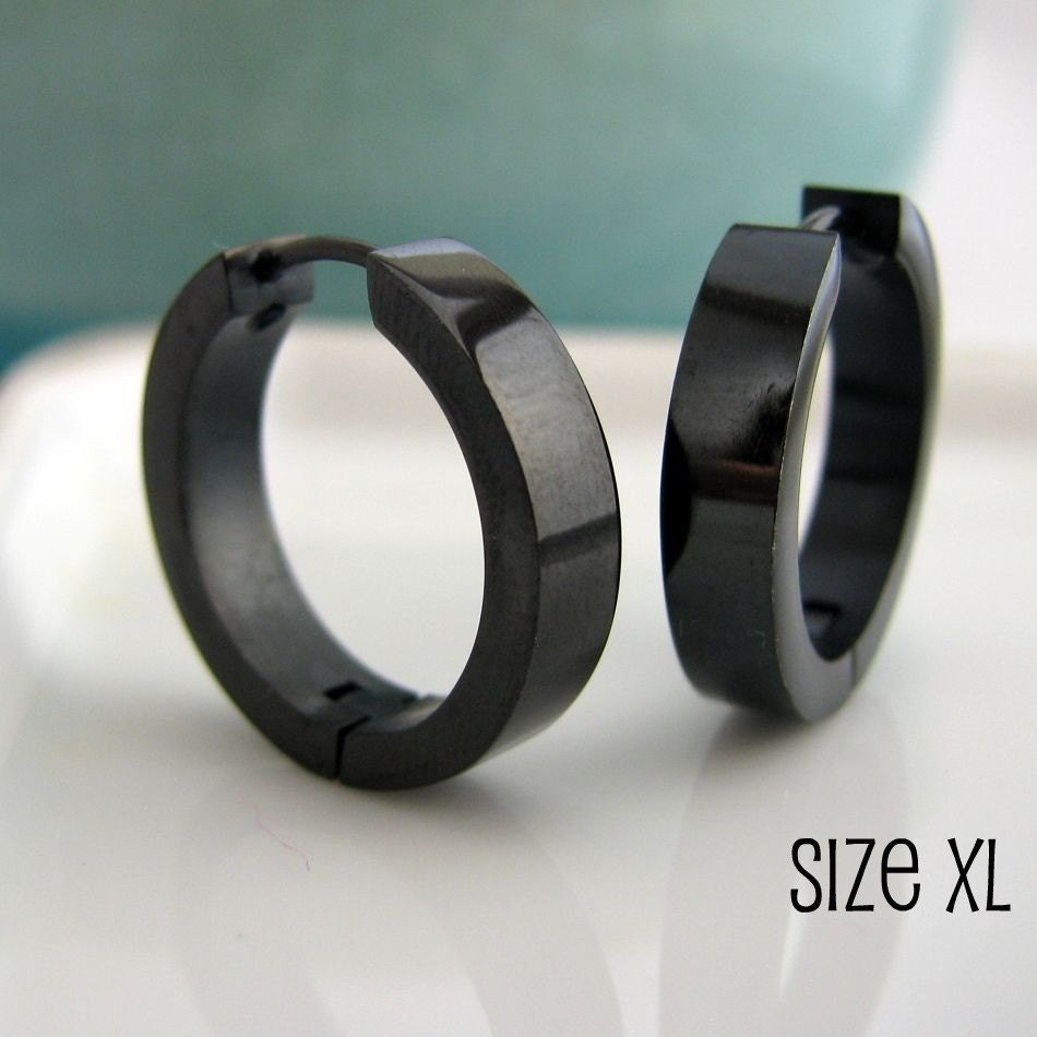 Black Mens Earrings Hoop Earrings for Men Stainless by 360Jewels