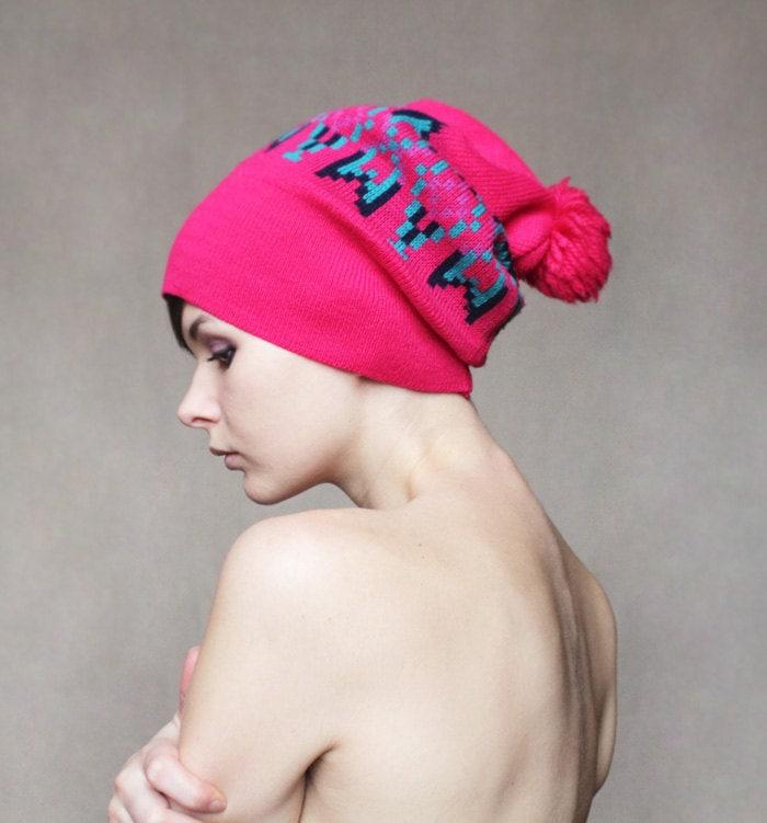 Hot pixel pink winter hat - founditgreat