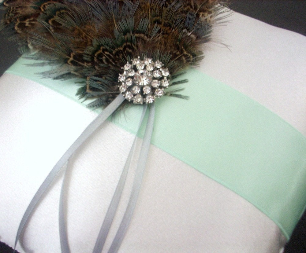 Ivory and Light Mint Green Satin Ring Bearer Pillow with Rhinestone Crystal and Feather Accents - Aqua Flair - AveCBridal