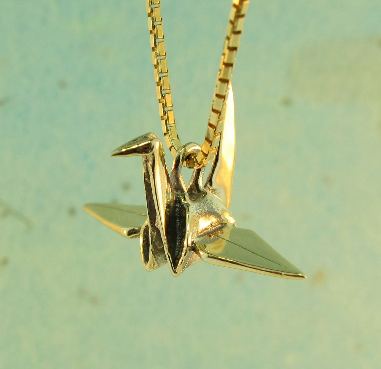 14k Gold Peace Crane Charm Pendant