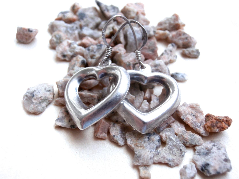 Open Heart Earrings  Vintage Jewellery  Sterling Silver Earrings