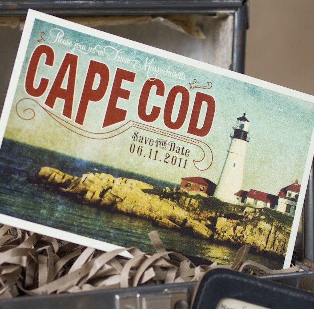 Vintage Postcard Save The Date Cape Cod Lighthouse By