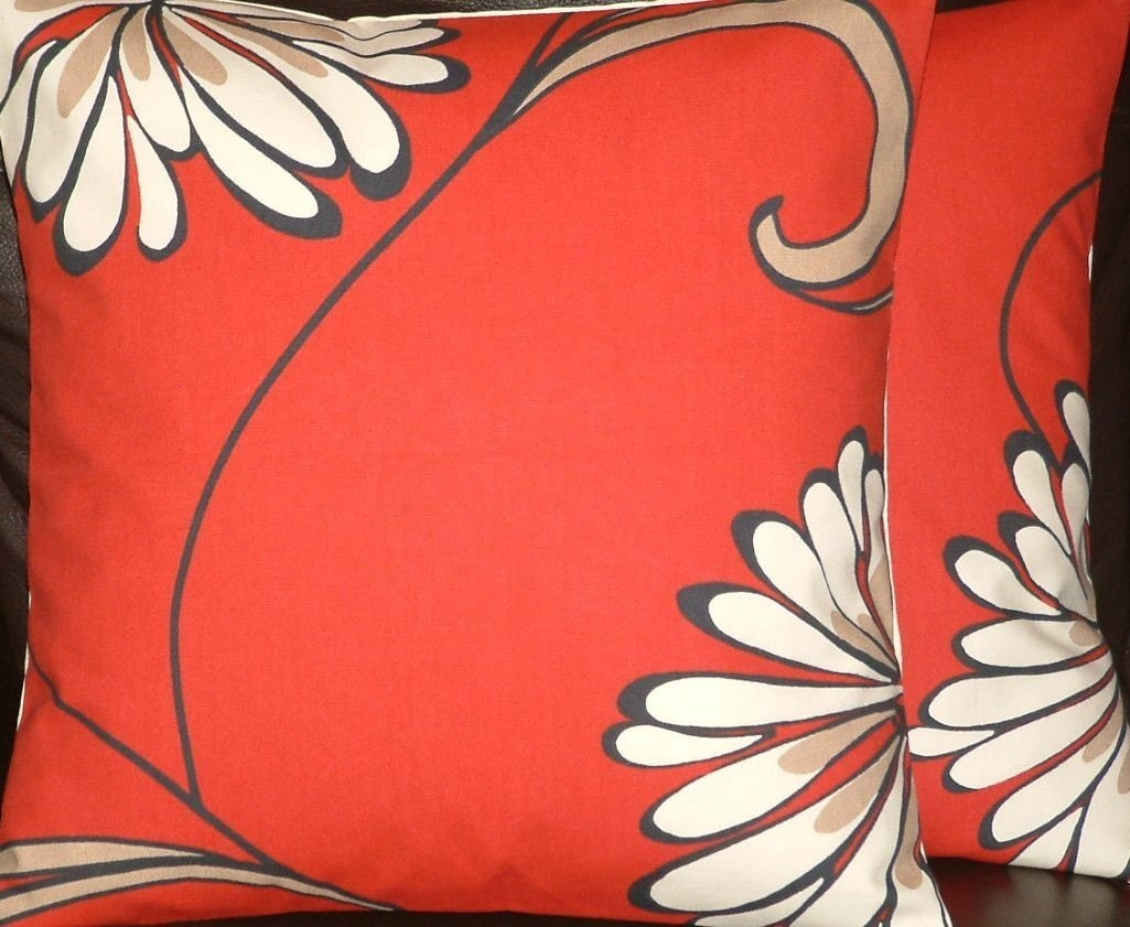 Two New Handmade Contemporary Cotton 16 inch by MARIESCOSYCUSHIONS