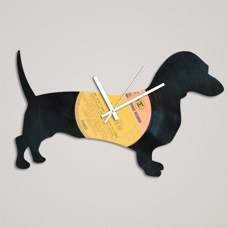 Handmade Recycled Retro Record Clock - Dachshund - iBurnThings
