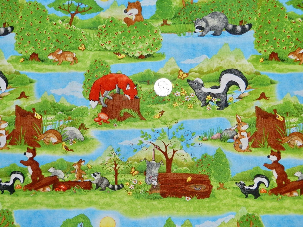 Hide And Seek Woodland Animals Fabric By The Half By