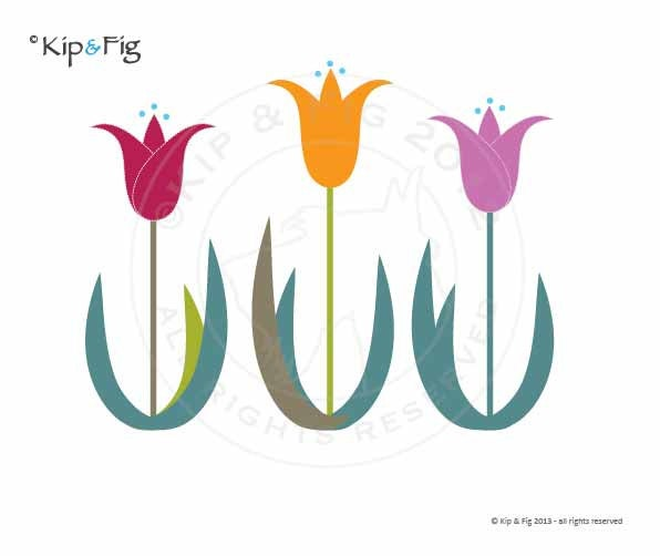 tulip applique template pdf applique pattern by kipandfig on etsy