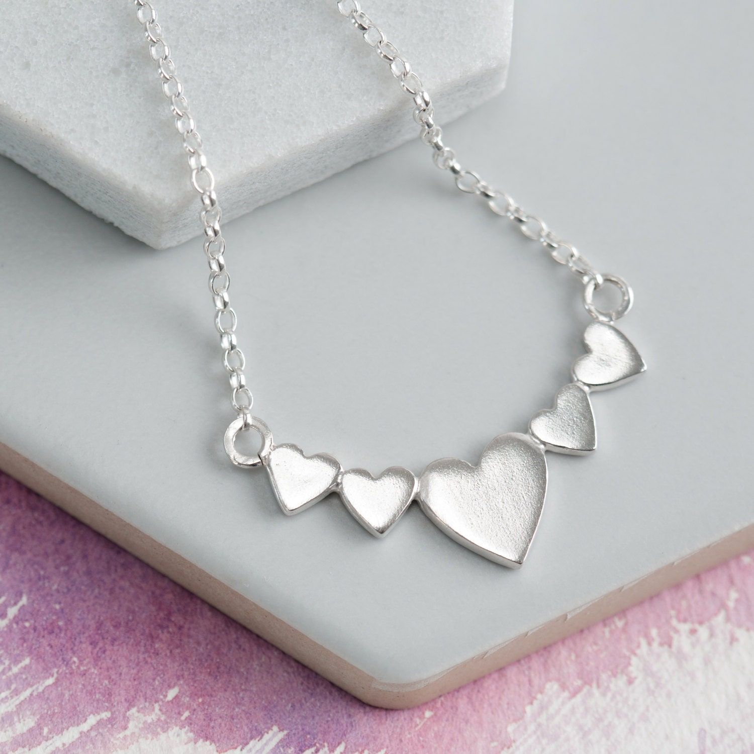 heart necklace  linked hearts jewellery  silver heart necklace  wedding jewellery  mother of 4 jewellery  family jewellery