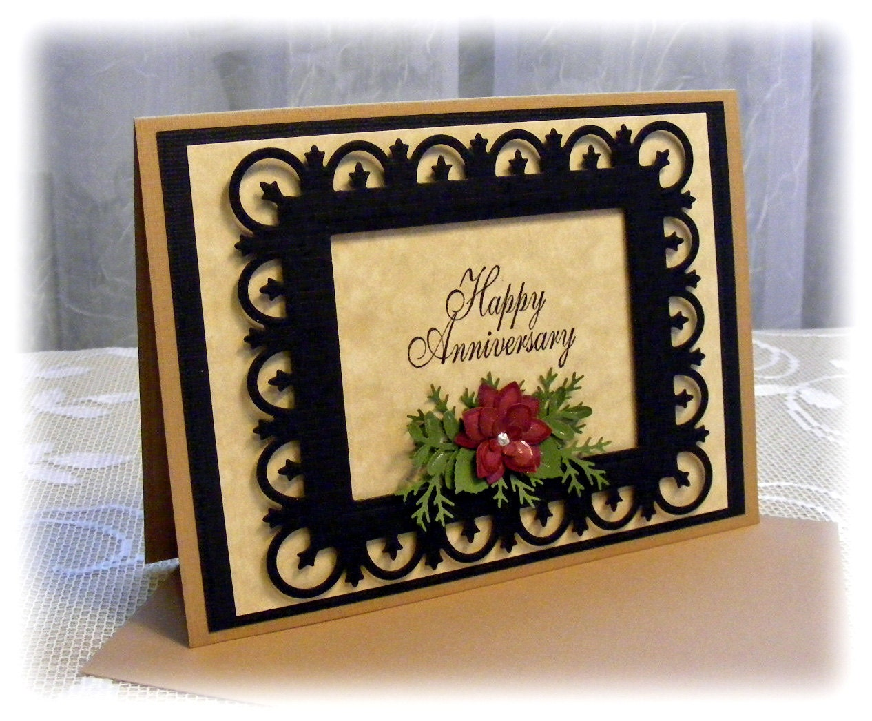 Elegant Handmade Anniversary Card with 3D by PineappleSoupDesigns