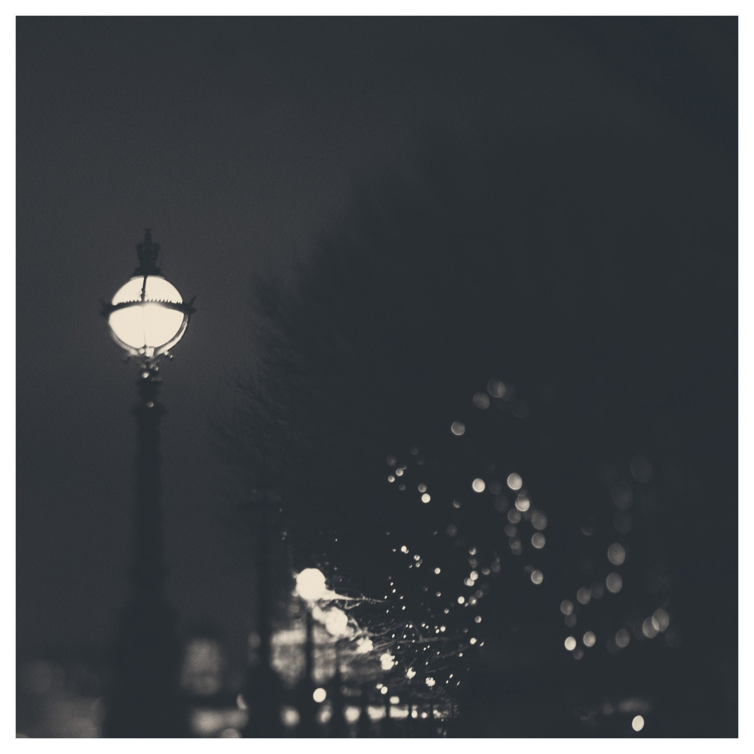 london night light black and white photo print - whimsical fine art photography, city, bokeh, romantic, thames - sweetdreamsandhoney