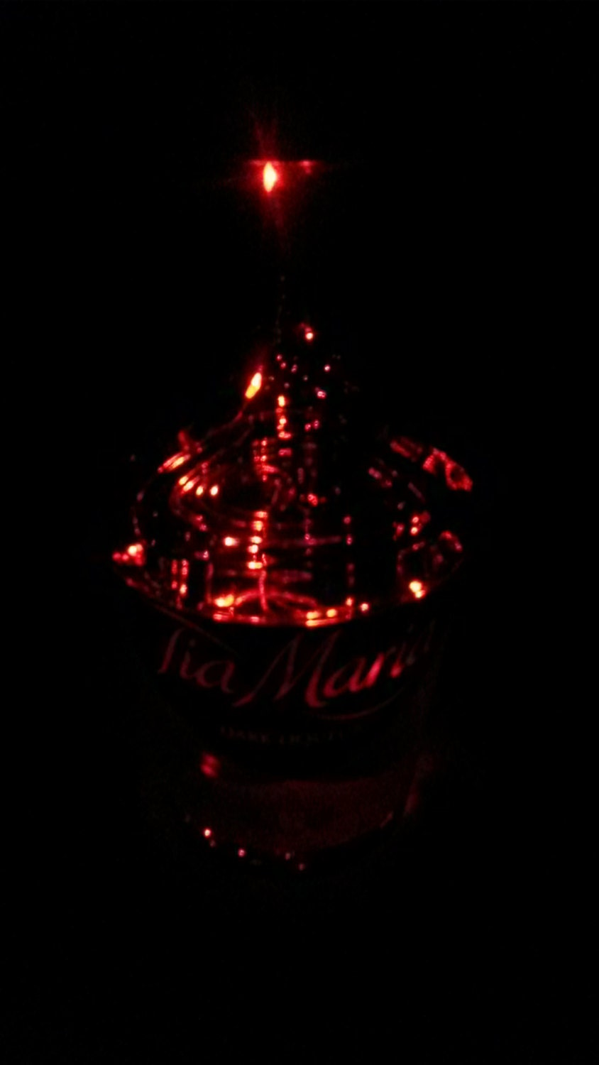 Upcycled Tia Maria Battery Powered Red LED Light Lamp (70cl)