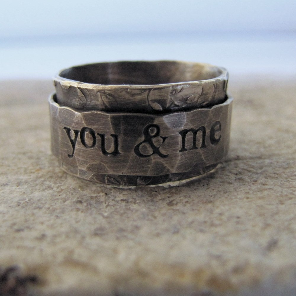 Rustic Spinner Ring - personalized - recycled metal