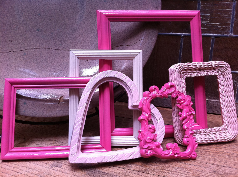 Sweet Nursery Decor Frame Set, Vintage Upcycled Painted Frames, Pink Frames,