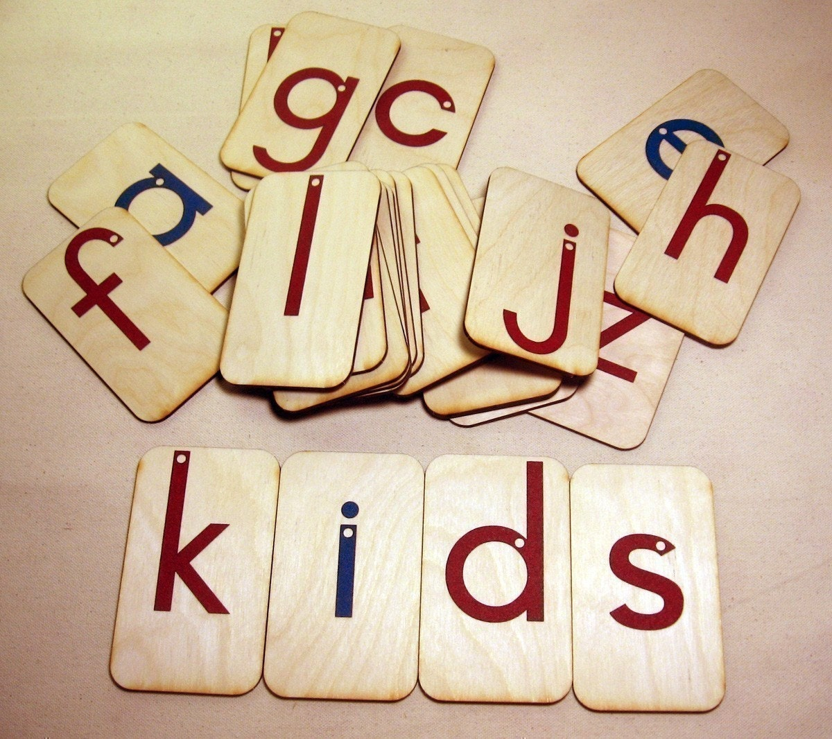 Lowercase Sandpaper Letters on birch wood
