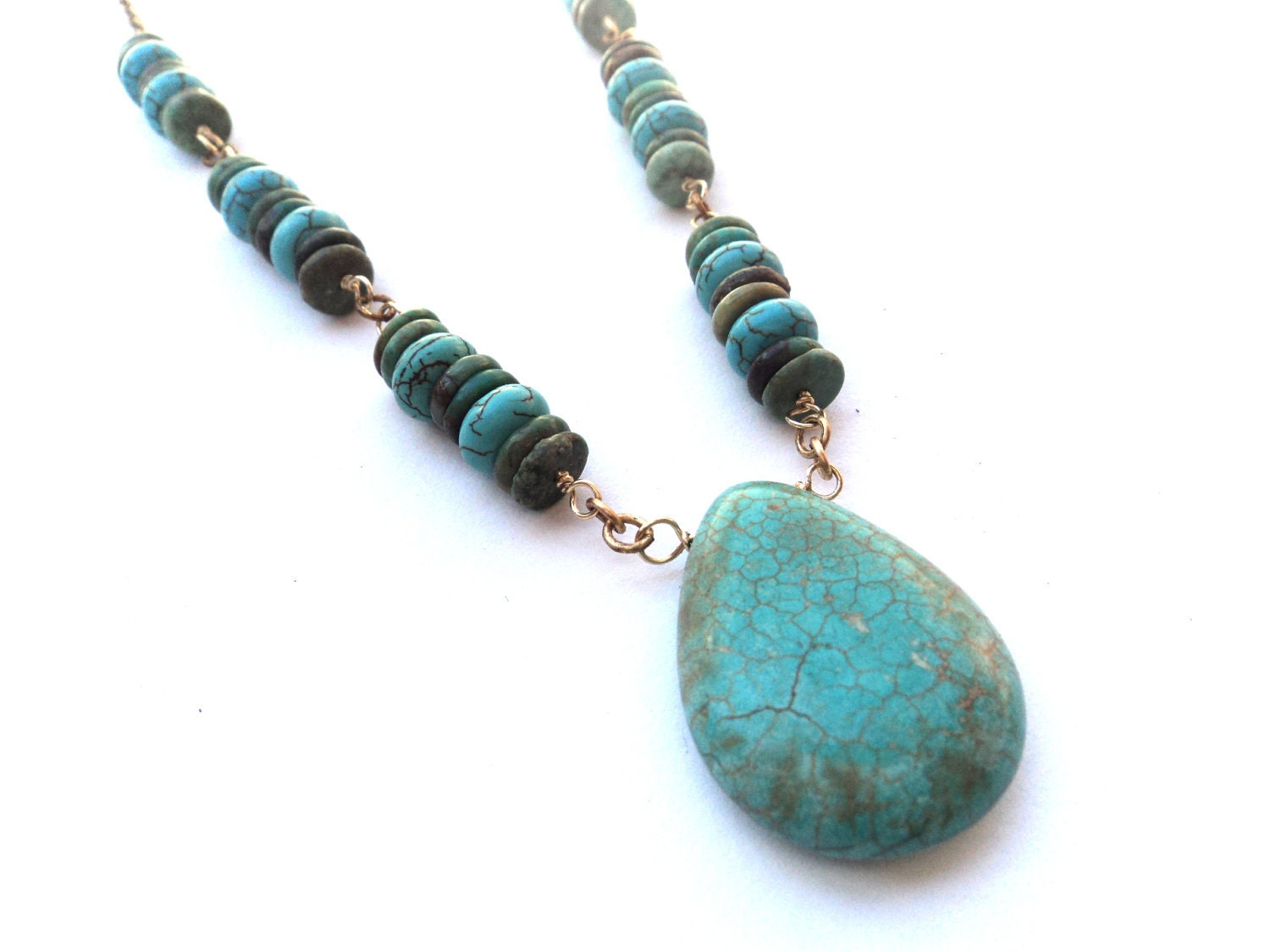 Necklace, Turquoise, Magnesite, Blue, Green - SimoneSutcliffe