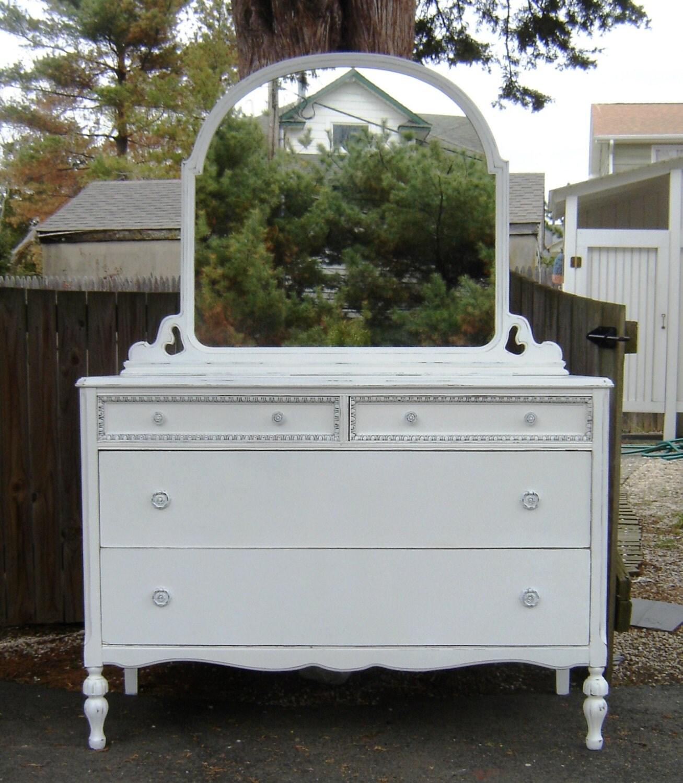 white vintage dresser mirror shabby chic furniture