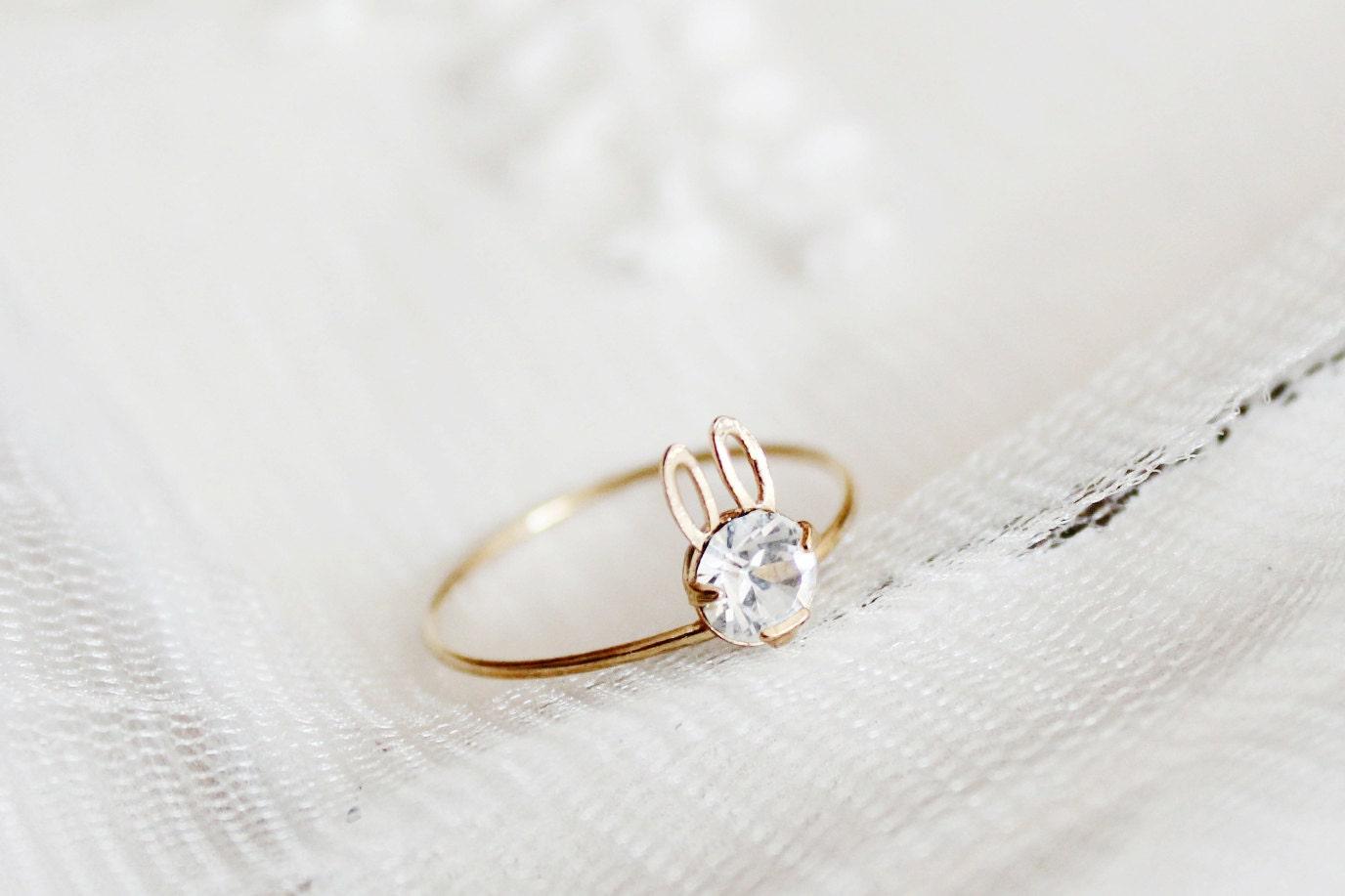 Dainty minimalist wedding ring rabbit bunny ring by for Wedding ring minimalist