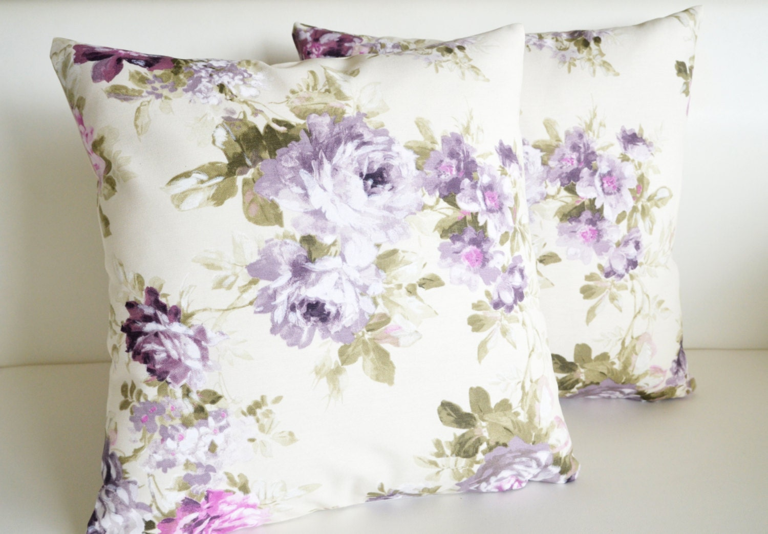 floral lace pillows white purple green decorative by sestras