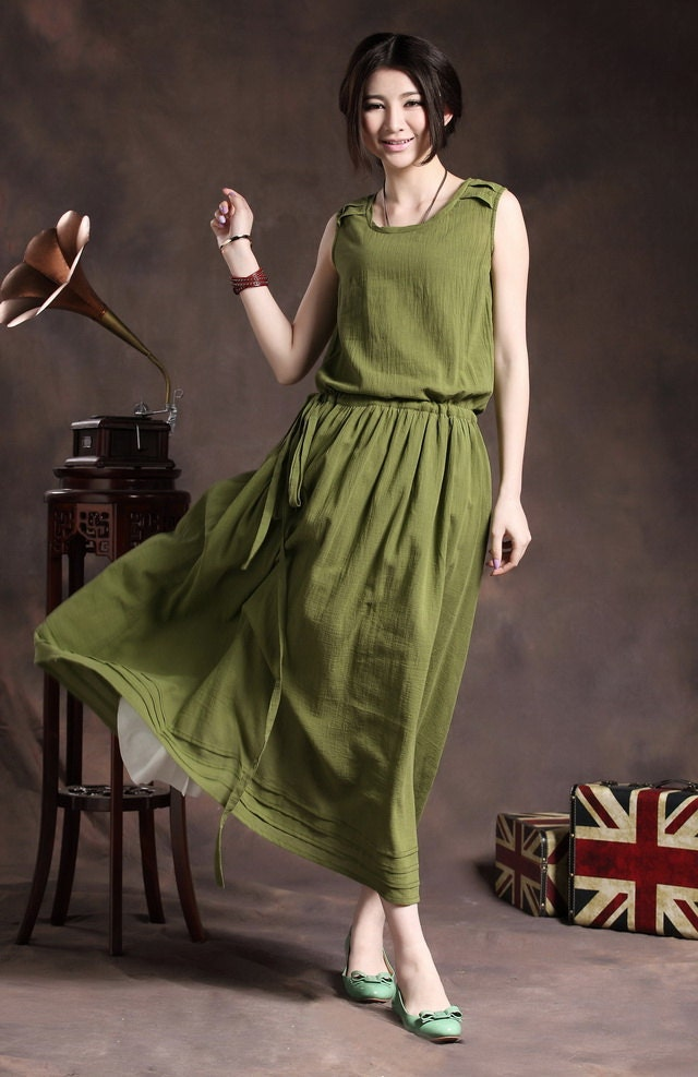 Silk Hemp Sundress in Olive Green / Maxi Green Dress / Cocktail Formal Dress - Custom - camelliatune