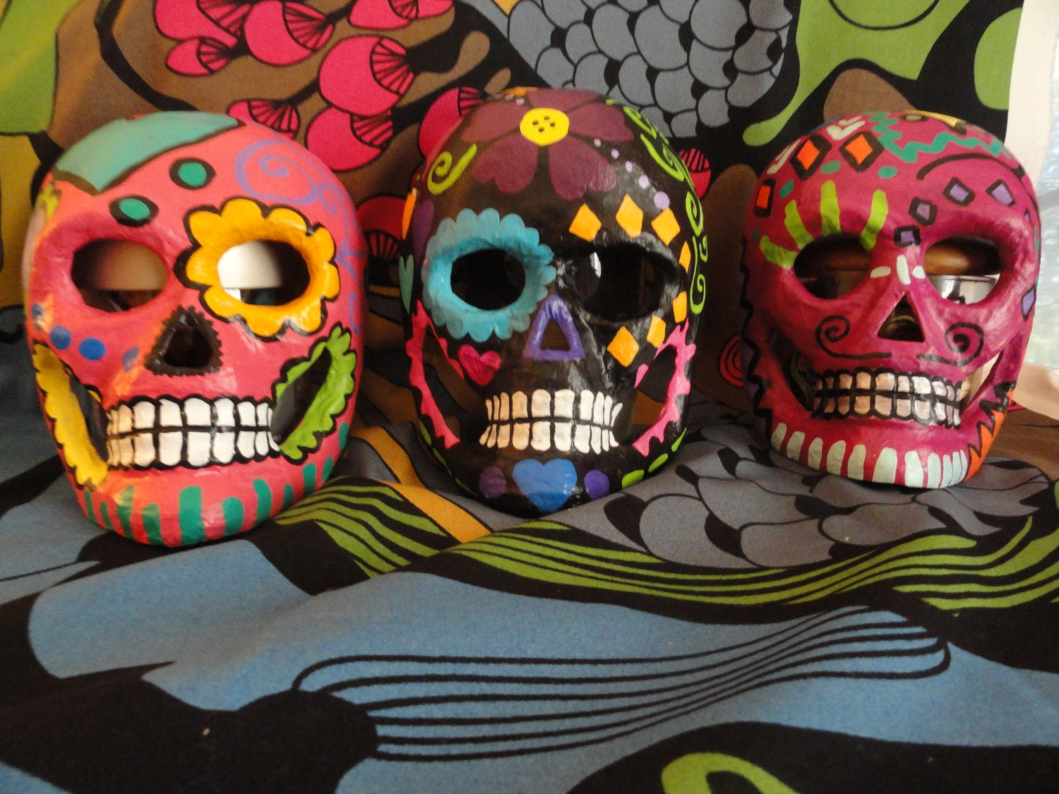 Sugar Skull Mask/Wall Art Paper Mache by SuitePotaytoes on Etsy