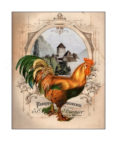 Rooster Kitchen Decor French Country: 8x10 Rooster Print French Country Decor Colorful By