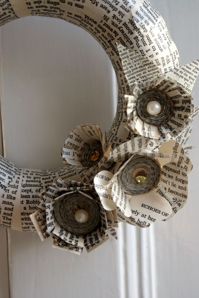 Christmas wreath, recycled books, neutral colours, paper flowers, literary