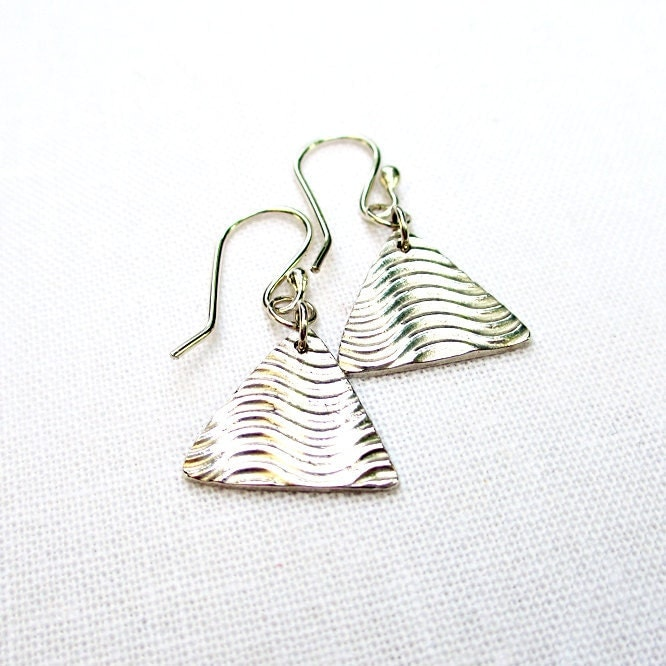 Silver Triangle Dangle Earrings - Sterling Silver, Fine Silver, Wavy Print, Pyramid, Geometric, Artisan Jewelry - BeadinByTheSea