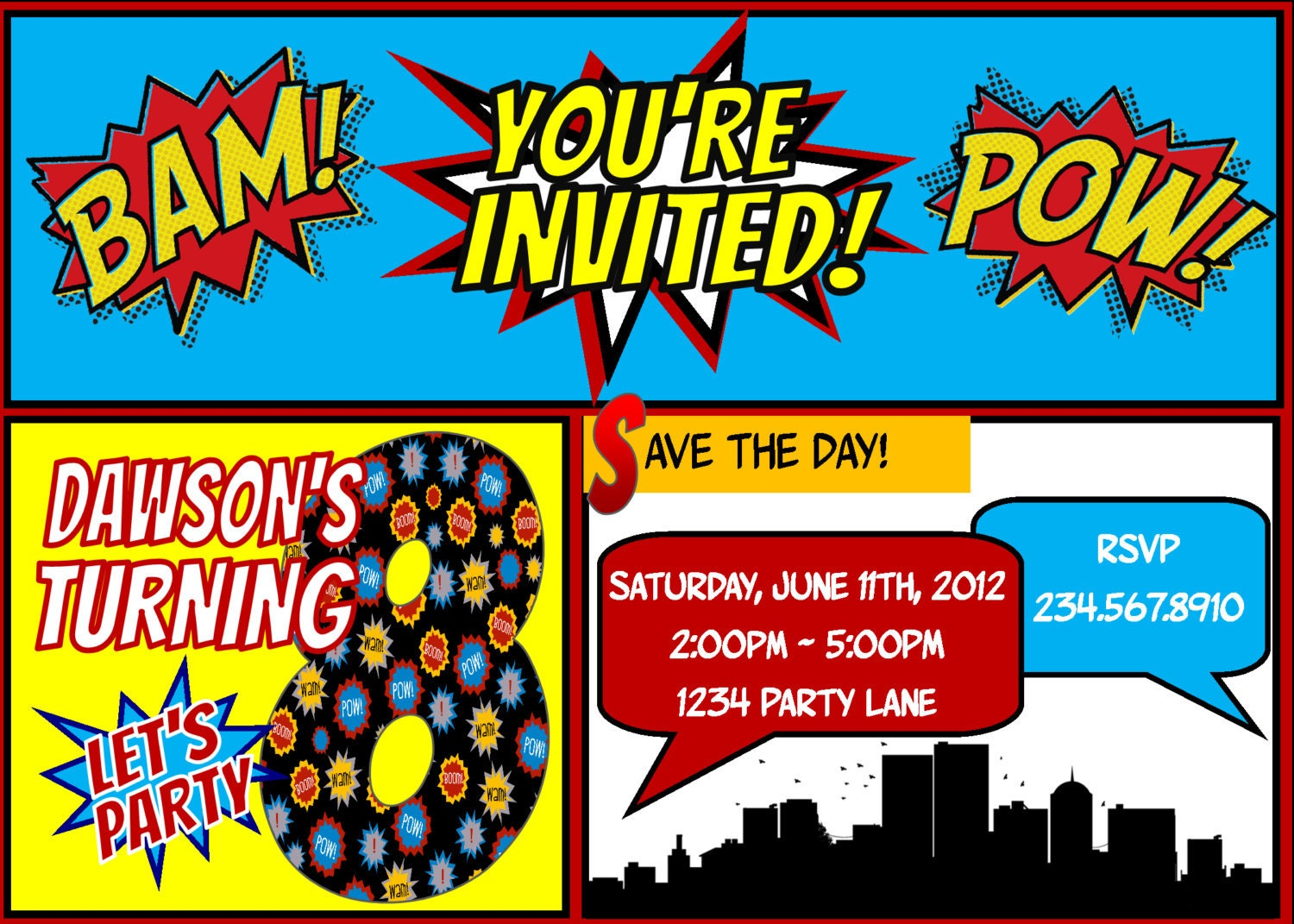 Superhero Party Invitation and Candy bar by funtasticprintables
