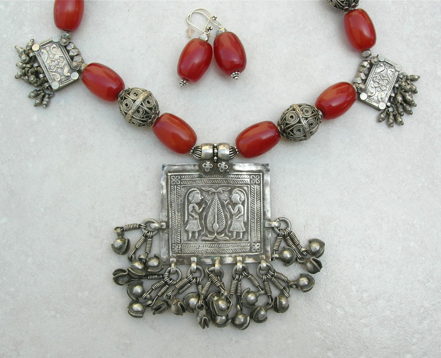 Indian Necklace Set Antique Indian Pendants & by SandraDesigns