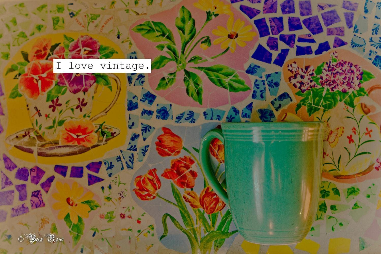 """8x10 """"I love vintage"""" Fine Art Print vintage coffee mug and mosaic tile"""