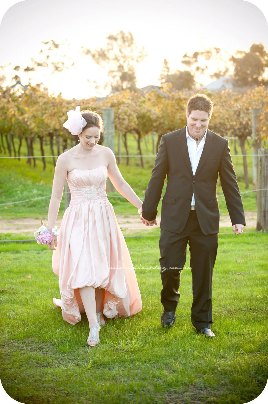 Blush Pink Wedding Dress with HighLow Bubble by bridalblissdesigns