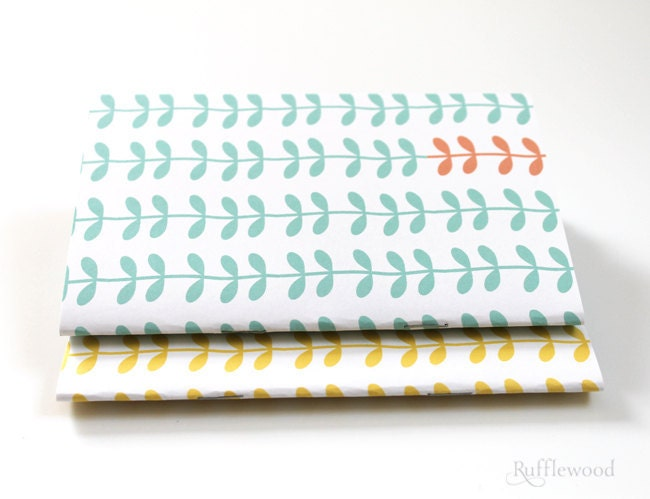 Mini Notebook Set...Mint and Yellow - RufflewoodPaper