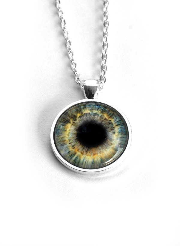 third eye necklace with green grey human eyeball by