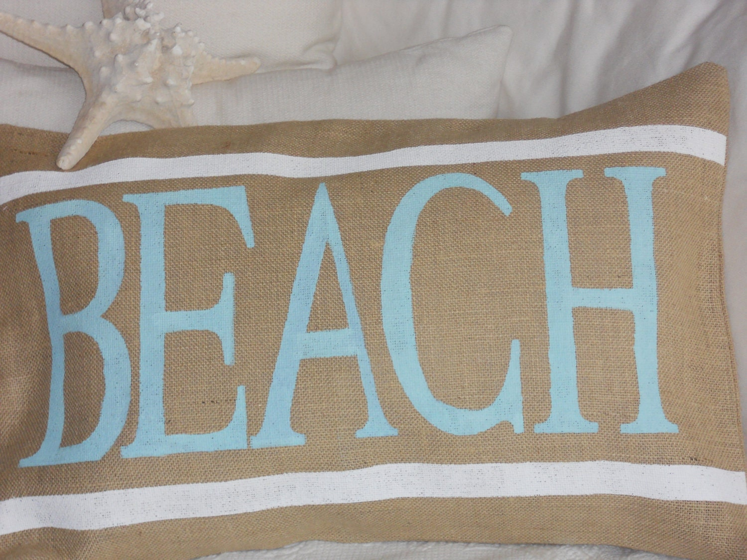 Natural Burlap BEACH Pillow Slip - TheLetteredHome