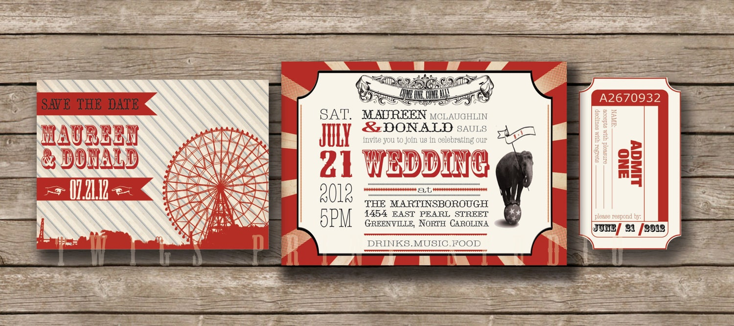 Wedding Invitation, Carnival & Ticket