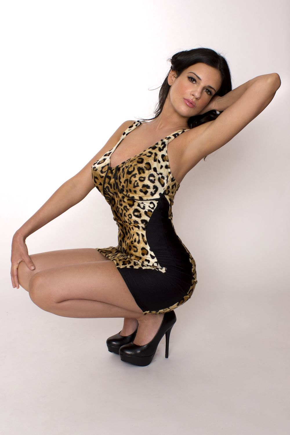 SAMPLE SALE 50% Off Pin up Leopard Dress Featured in Bella Morte Magazine Rockabilly Wiggle Minidress Sexy Leopard Print Faux Fur Small - MGDclothing
