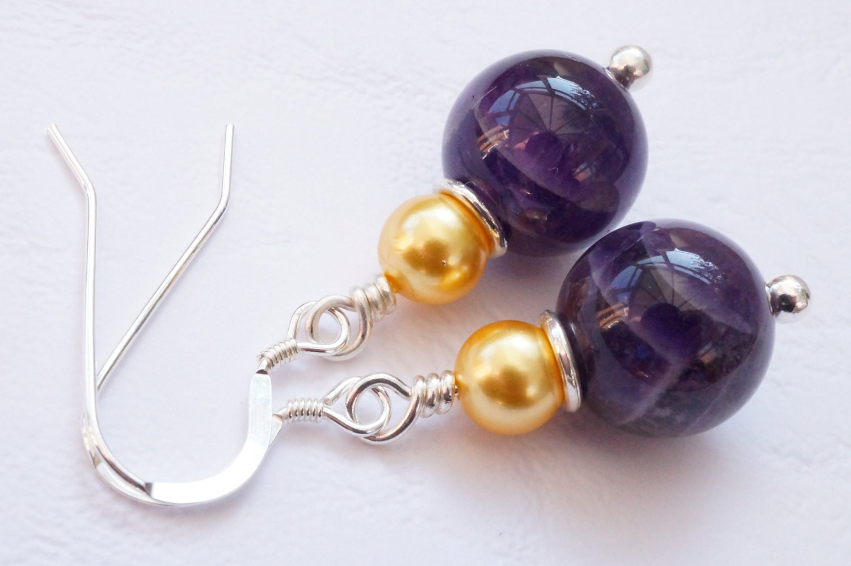 Amethyst earrings purple earrings gemstone earrings amethyst and pearl earrings shell pearl earrings golden shell earrings uk seller