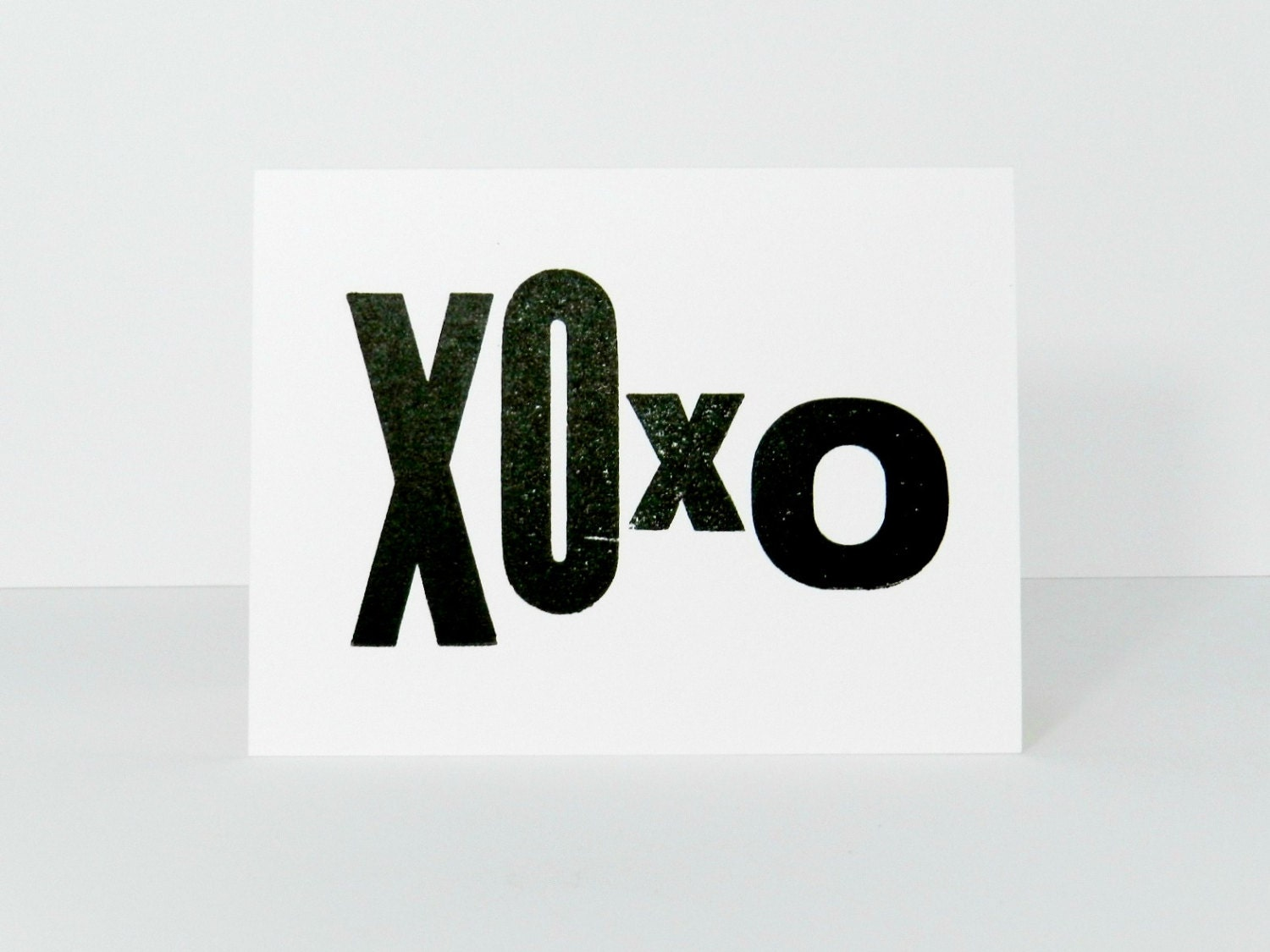 Valentine's Day Card, XOXO, Black and White Simple Typography Greeting Card, Letterpress Stationery, Single Card - PrintandBeMerry