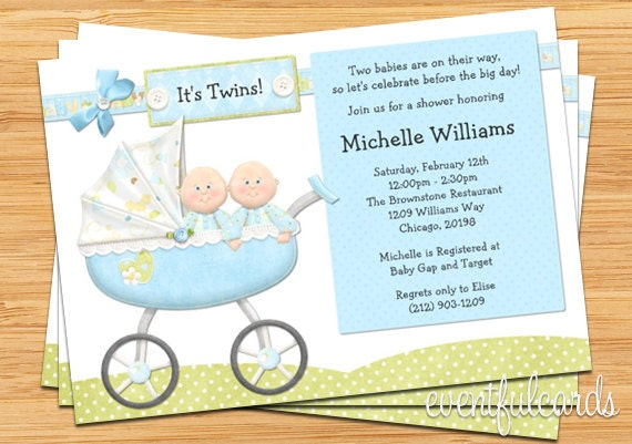 Twin Boys Baby Shower Invitation by eventfulcards on Etsy