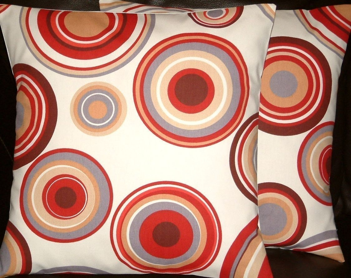 2 18 Contemporary Red Brown Cream Circles by MARIESCOSYCUSHIONS