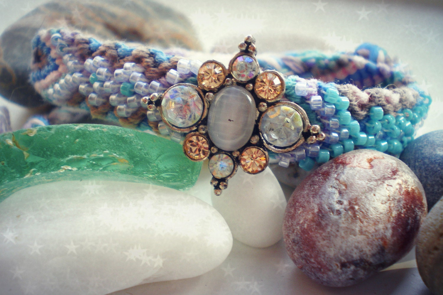 Beaded Friendship Bracelet with Gemstones and Seed Beads - Pastel Pink, Blue & Lilac