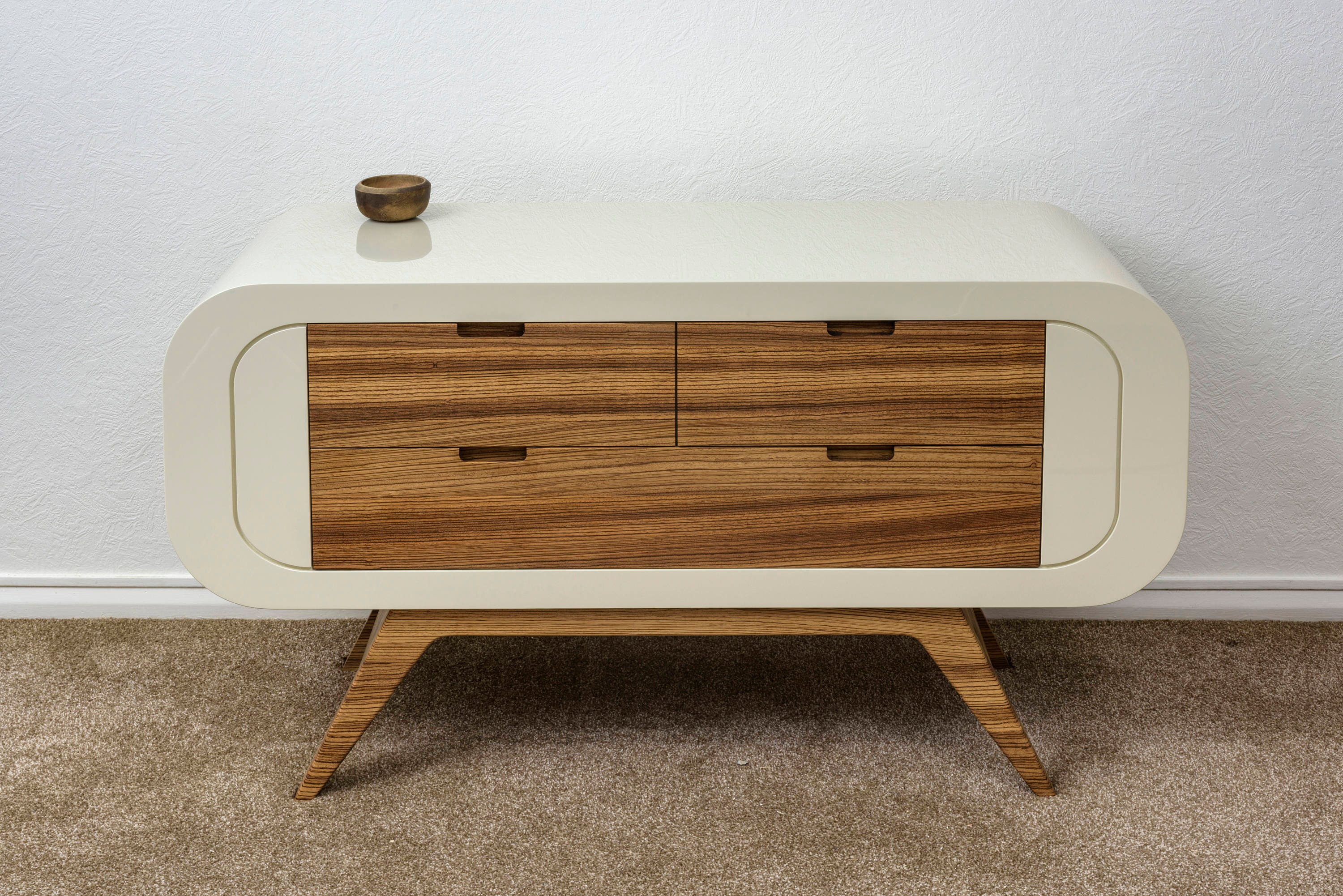Solid zebrano and lacquerfinish sideboard  cabinet  chest of drawers  TV stand  media unit