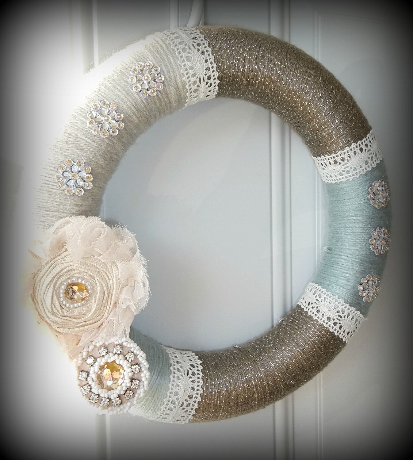 Shabby Chic Yarn Wreath with lace